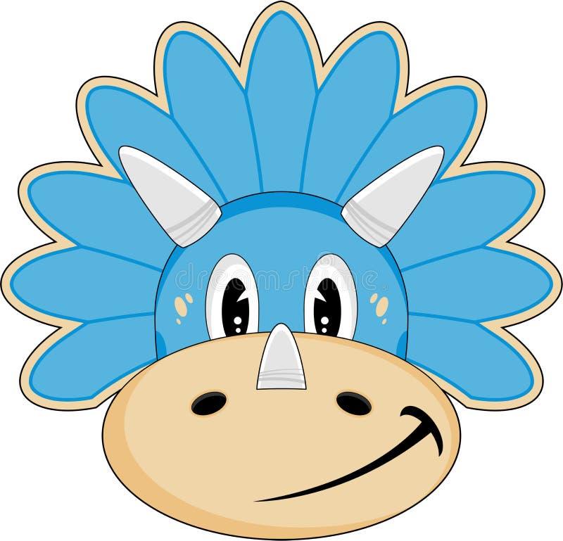 Gulligt Triceratopstecken royaltyfri illustrationer
