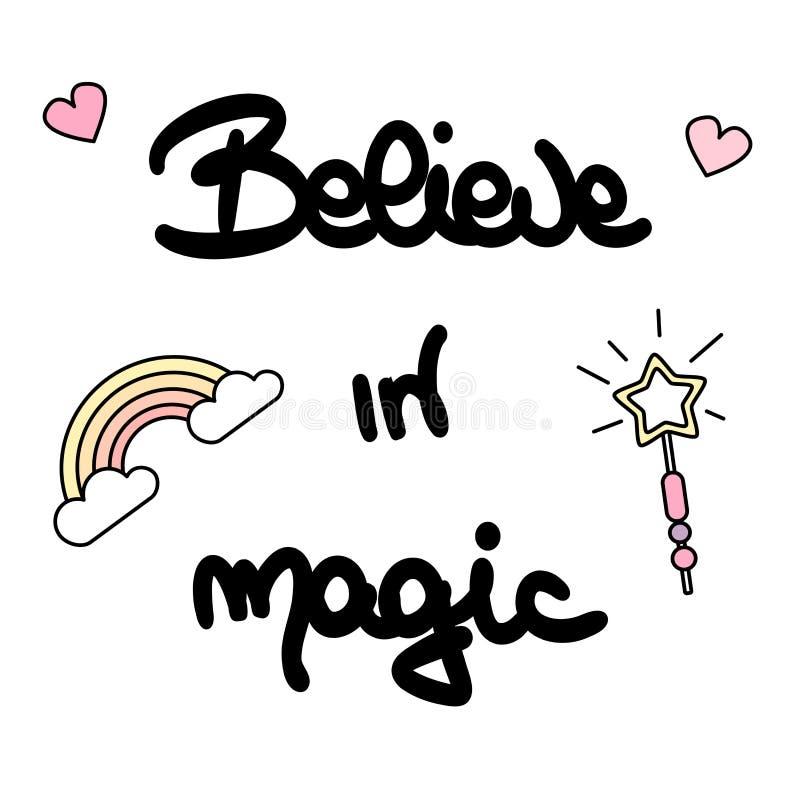 Gulligt tro i positivt citationstecken för magiska svartvita drömmar för handbokstäverinskrift magiska till affischen, hälsningko royaltyfri illustrationer