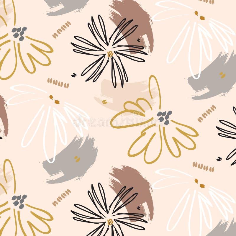 Gulligt tryck för flower power Ytbehandla blom- botanisk garnering Bohemisk härlig naturbakgrund vektor illustrationer