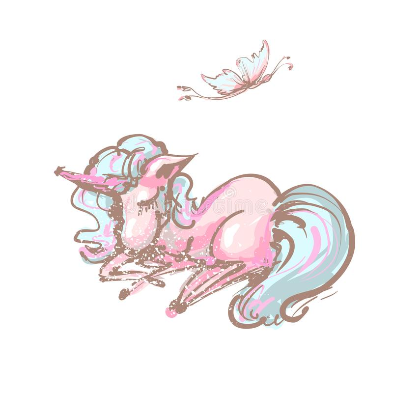 Gulligt tryck för söta drömmar för enhörning och för fjäril Isolerad vektorsymbol för sömn enhörning Fantasihästklistermärke, lap stock illustrationer