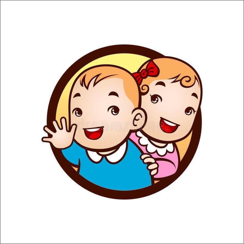 Gulligt tvilling- behandla som ett barn leende stock illustrationer