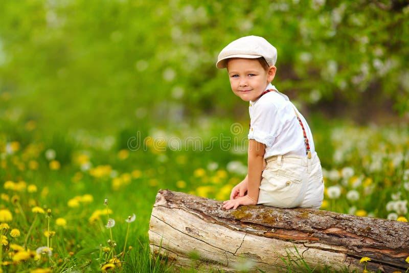 Gulligt ungt pojkesammanträde på stubbe i blommande trädgård för vår royaltyfria bilder