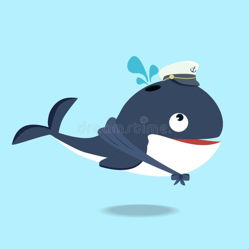 Gulligt val i en tecknad film för sjömandräkt royaltyfri illustrationer