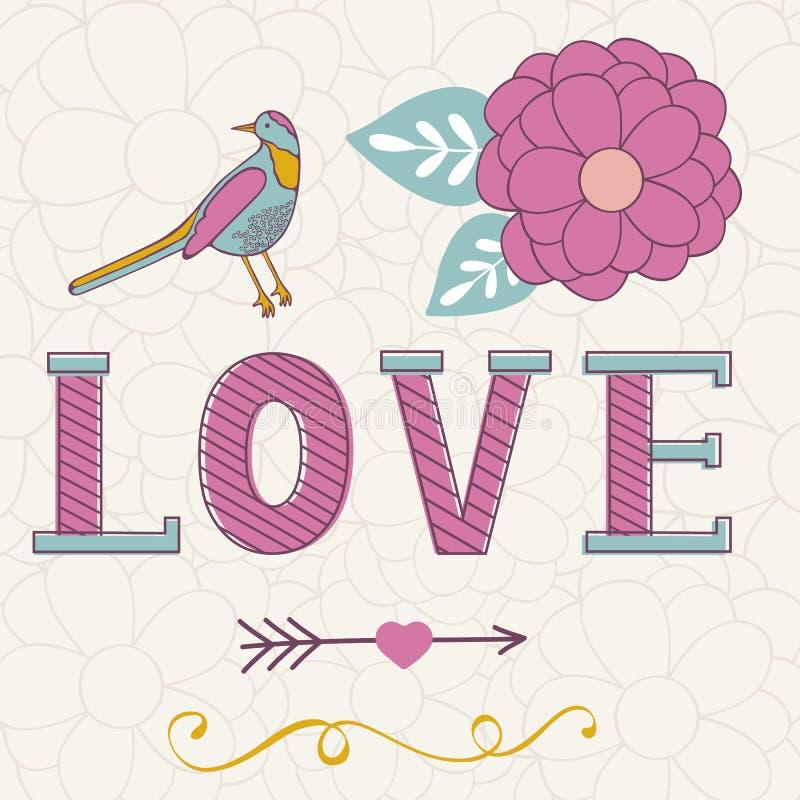 Gulligt valentindagkort med ordförälskelse, blommor stock illustrationer