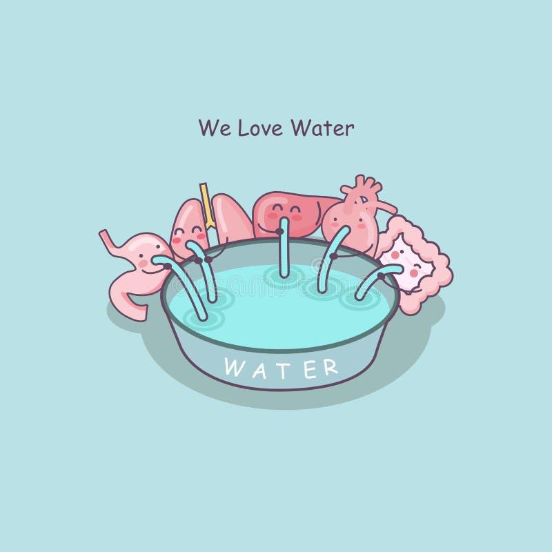 Gulligt vatten för tecknad filmorganförälskelse royaltyfri illustrationer