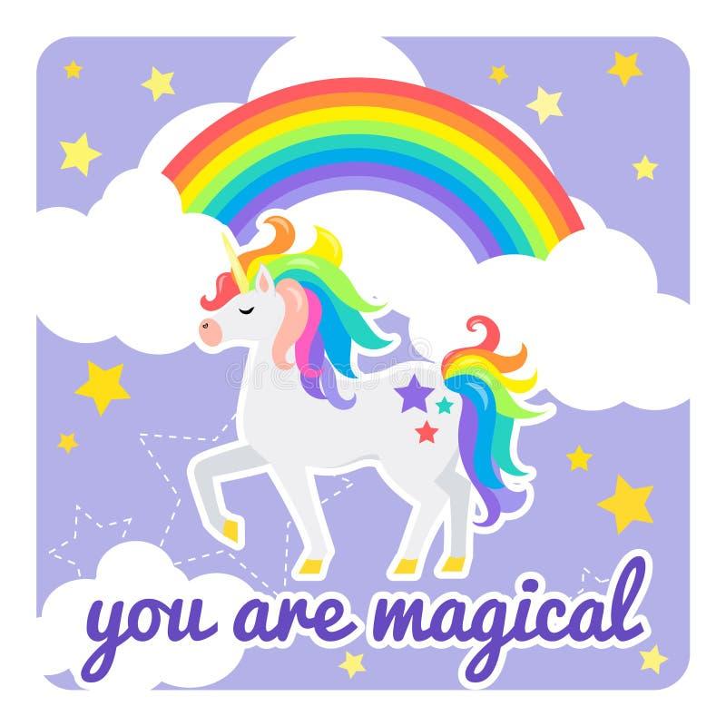 Gulligt vektorkort med enhörningen och regnbågen Du ?r magisk stock illustrationer