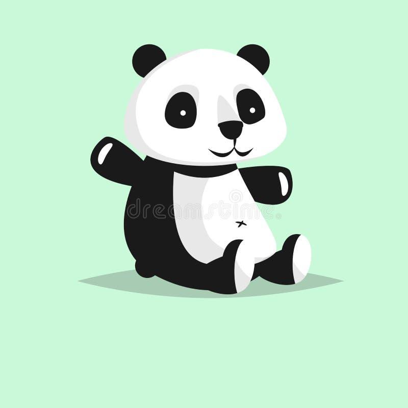 Gulligt vektortecken: panda royaltyfri illustrationer