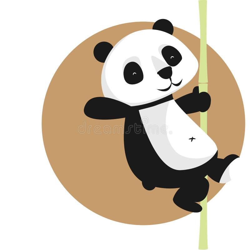 Gulligt vektortecken: panda på bambu vektor illustrationer