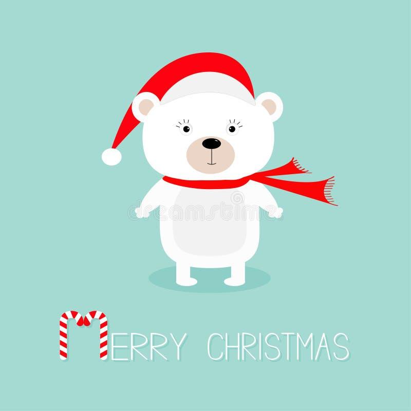 Gulligt vitt polart behandla som ett barn björnen i den Santa Claus hatten och halsduken Lyckligt nytt år glad greeting för kortj vektor illustrationer