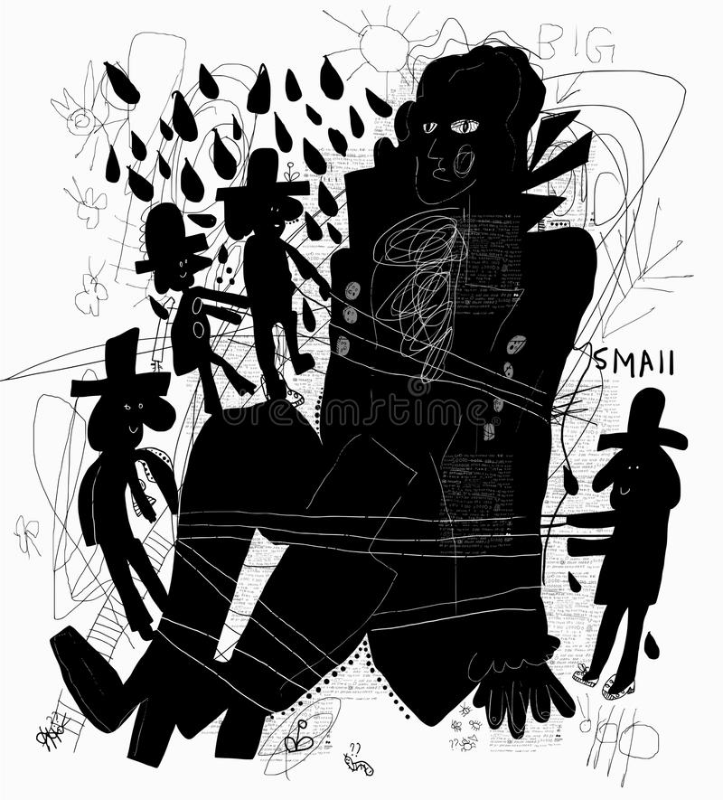 Gulliver. The image of a man who was seized and tied by small dwarfs royalty free illustration