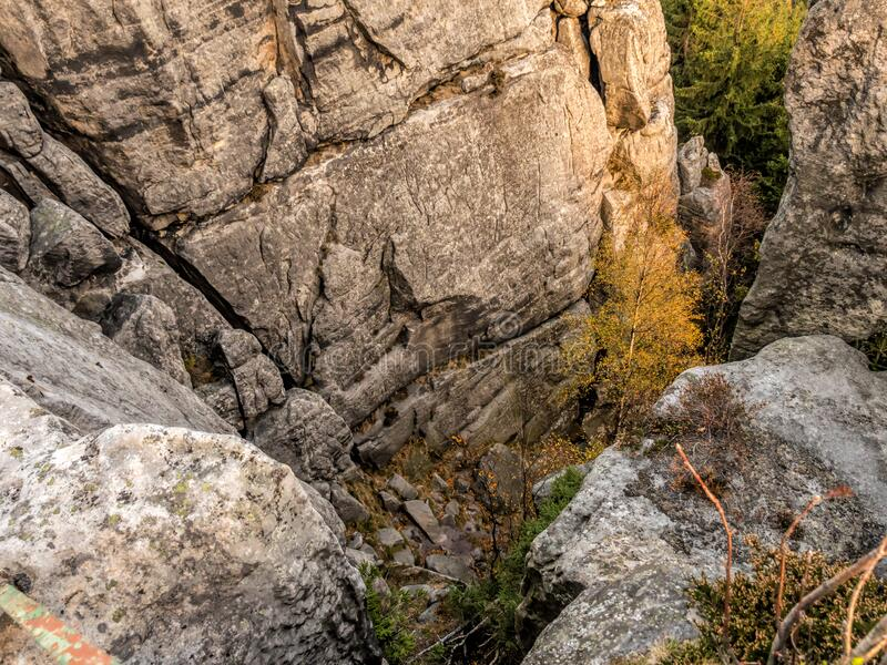 Gully in the Table Mountain National Park, Poland stock photography