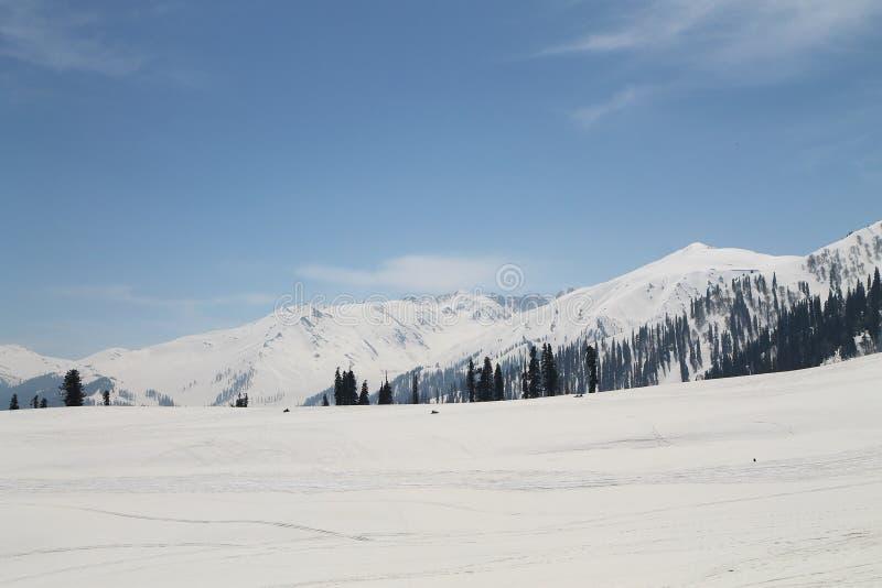 Gulmarg, Srinagar, India: Piękny krajobraz z śnieżną górą zdjęcie stock