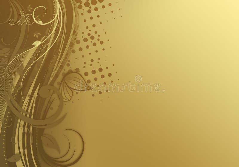 Gulna abstrakt bakgrund Nya spirala lövrika virvlar vektor illustrationer