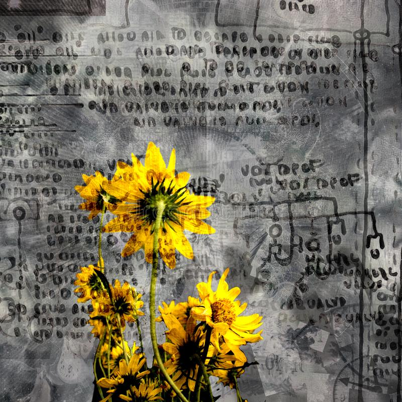 Gulna blommor stock illustrationer
