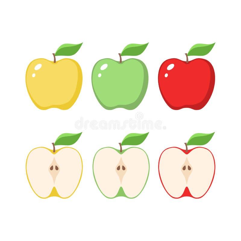 Gulna, gräsplan och röda äpplecliparttecknade filmer skivat äpple stock illustrationer