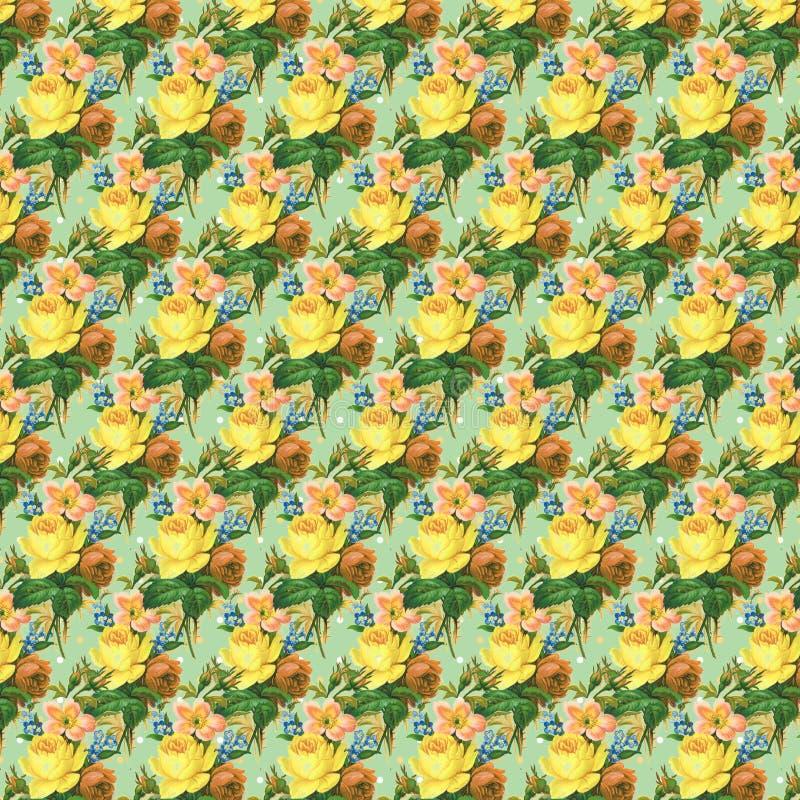 Gulna och göra grön repetition för bakgrund för tapeten för tappningrosblomman stock illustrationer