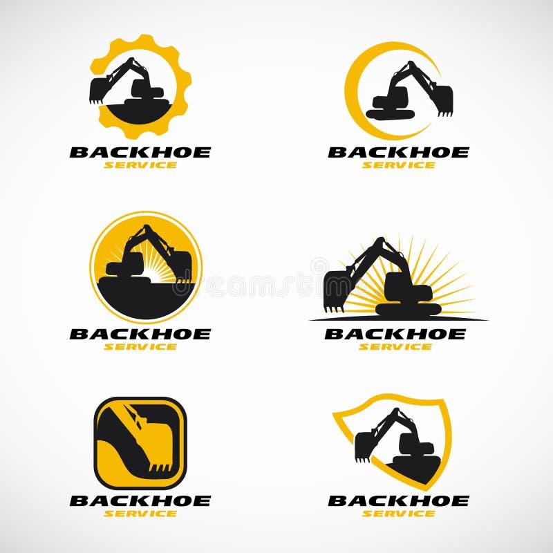 Gulna och svärta den fastställda designen för Backhoelogovektorn royaltyfri illustrationer
