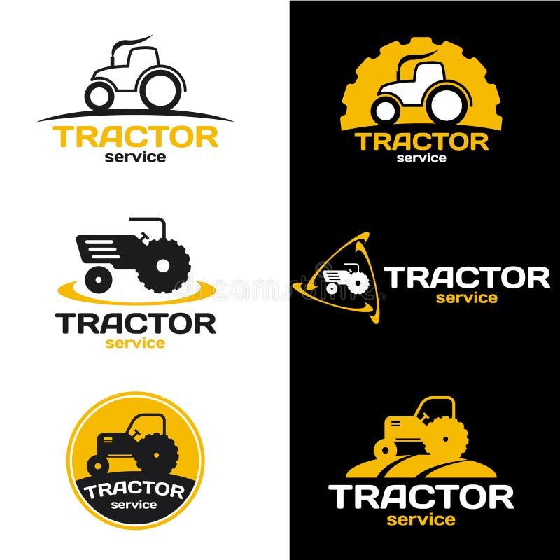 Gulna och svärta den fastställda designen för traktorlogovektorn royaltyfri illustrationer