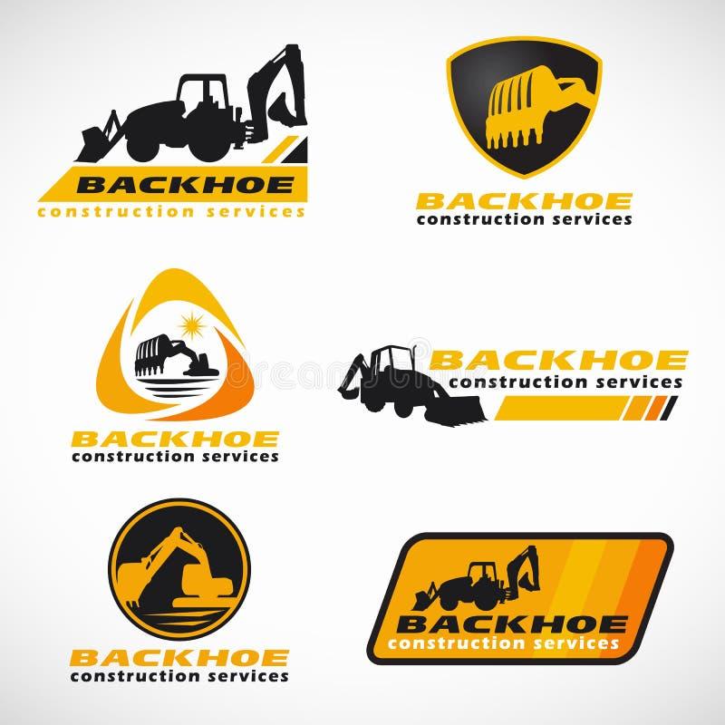 Gulna och svärta designen för vektorn för logoen för Backhoekonstruktionsservice den fastställda stock illustrationer