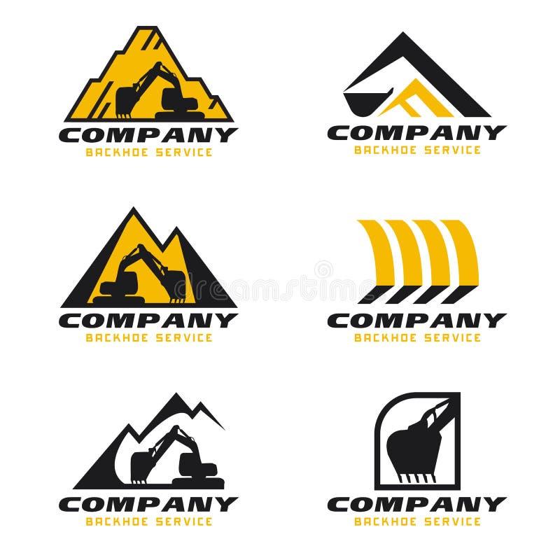 Gulna och svärta för den tjänste- den fastställda designen logovektorn för backhoen royaltyfri illustrationer