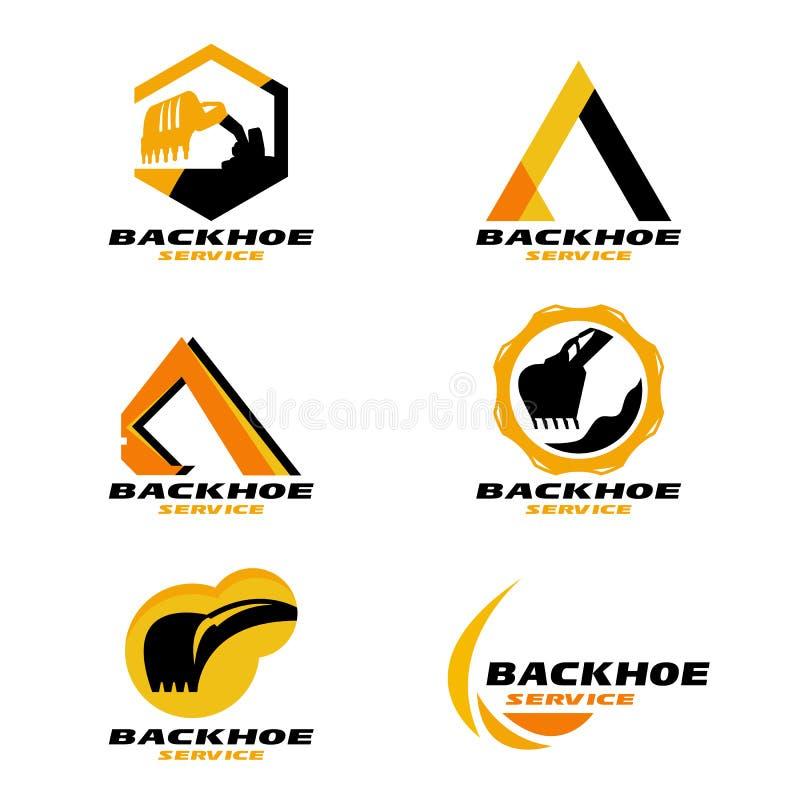 Gulna och svärta för den tjänste- den fastställda designen logovektorn för backhoen vektor illustrationer