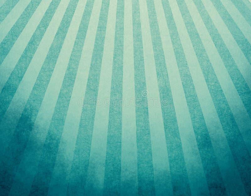 Gulnad blå retro bakgrund med urblekt grunge gränsar och mjuk effekt för blått- och gulingbandsunbursten eller starburstdesignen royaltyfri illustrationer
