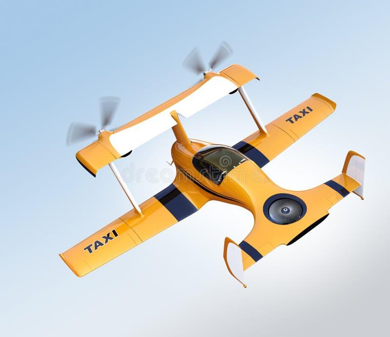 Gult autonomt flyg för flygsurrtaxi i himlen royaltyfri illustrationer