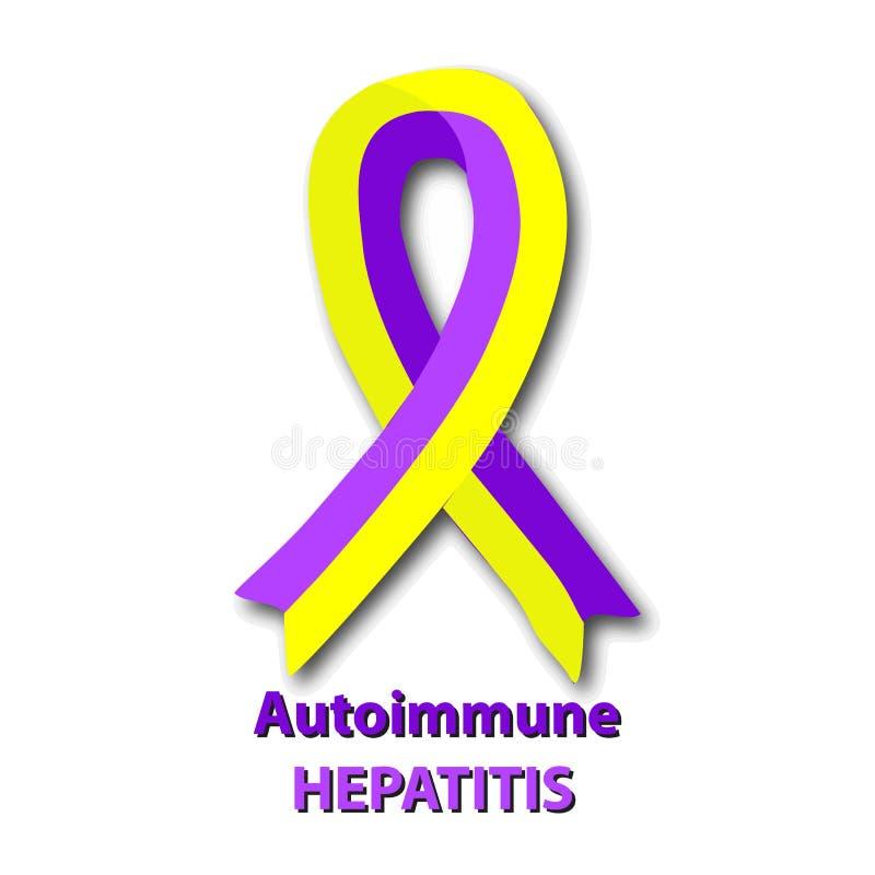 Gult band för Violet Autoimmune hepatit Världshepatitdag Vektorillustration på isolerad bakgrund stock illustrationer