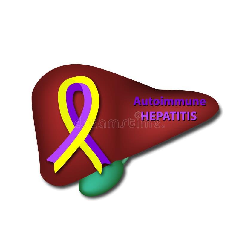 Gult band för Violet på levern Autoimmune hepatit Världshepatitdag Vektorillustration på isolerad bakgrund royaltyfri illustrationer