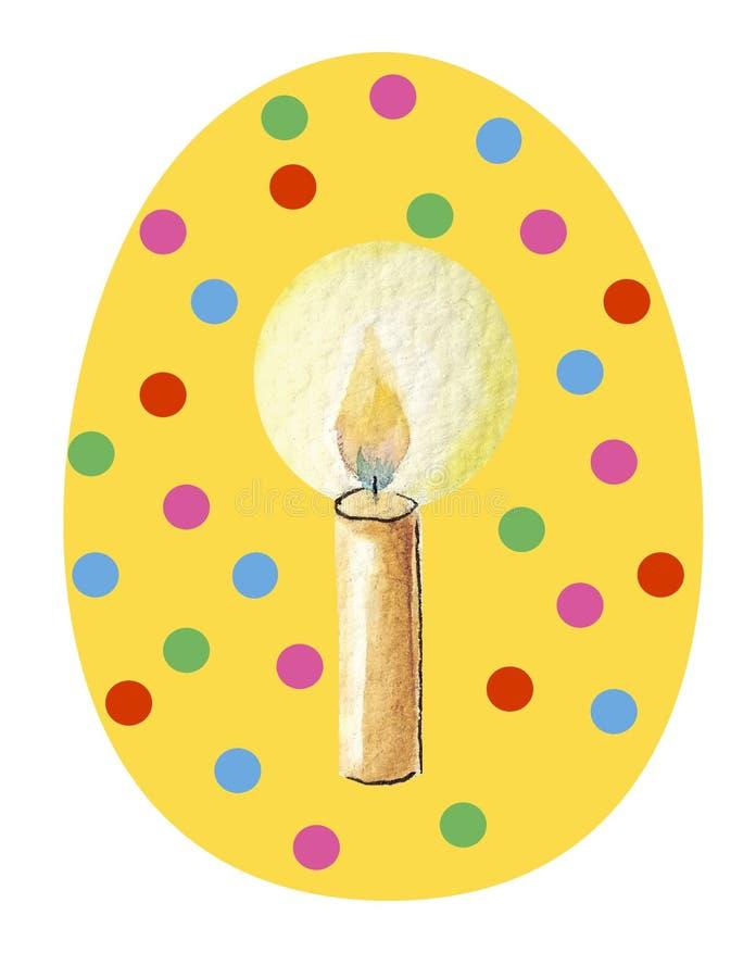Gult easter ägg på en vit bakgrund i mångfärgade cirklar med vattenfärgmodellen i mitt - stearinljus stock illustrationer