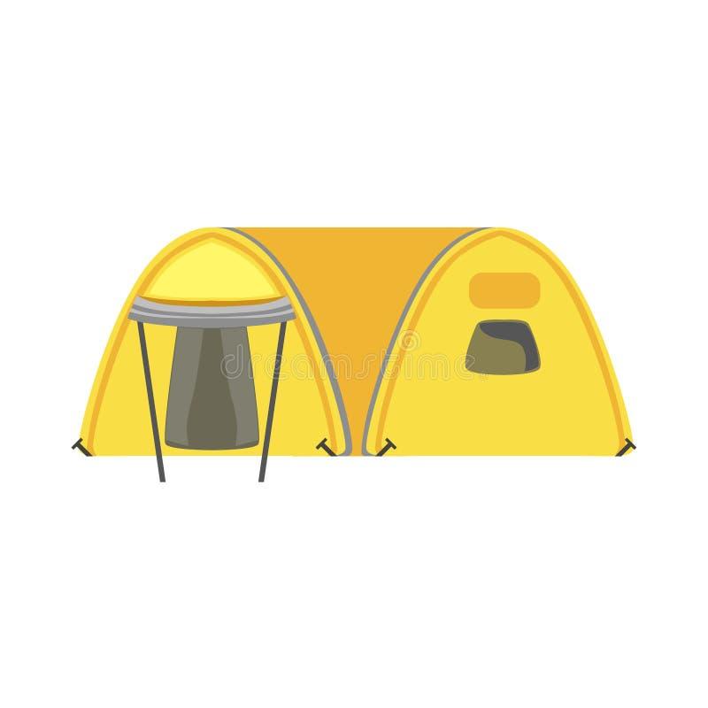 Gult för färgpresenning för stor familj ljust tält vektor illustrationer