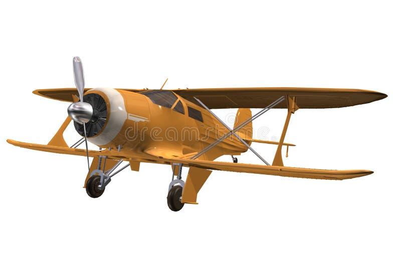 Gult flygplan stock illustrationer