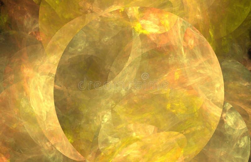 Gult fractalabstrakt begrepp med solen Fantasifractaltextur digital röd twirl för abstactkonst djupt framförande 3d dator frambra stock illustrationer