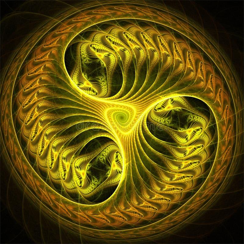 Gult futuristiskt hjul för abstrakt fractalkonst stock illustrationer