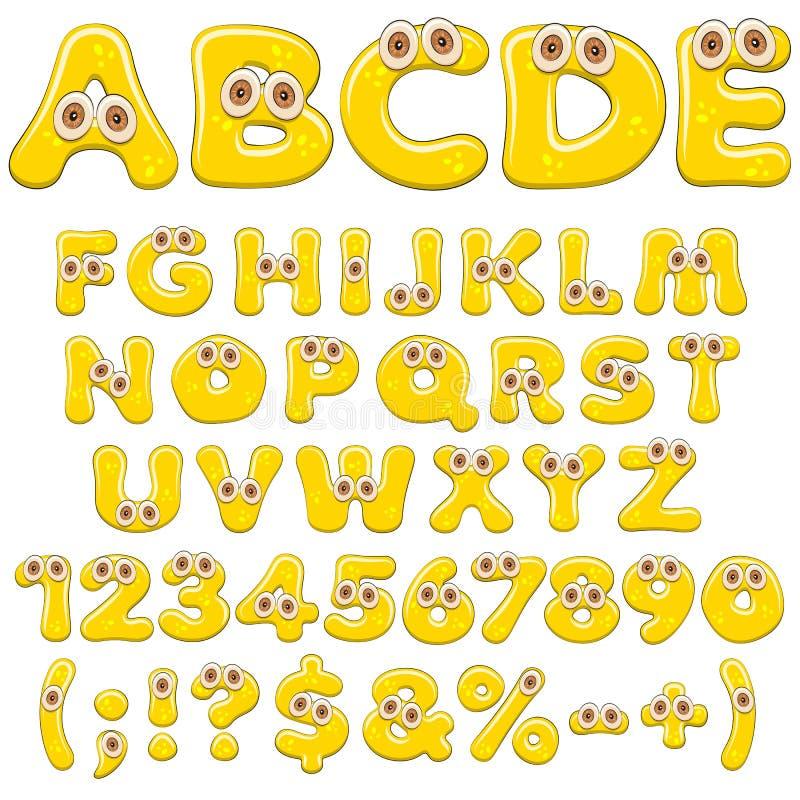 Gult geléalfabet, bokstäver, nummer och tecken med ögon Isolerade kulöra vektorobjekt royaltyfri illustrationer