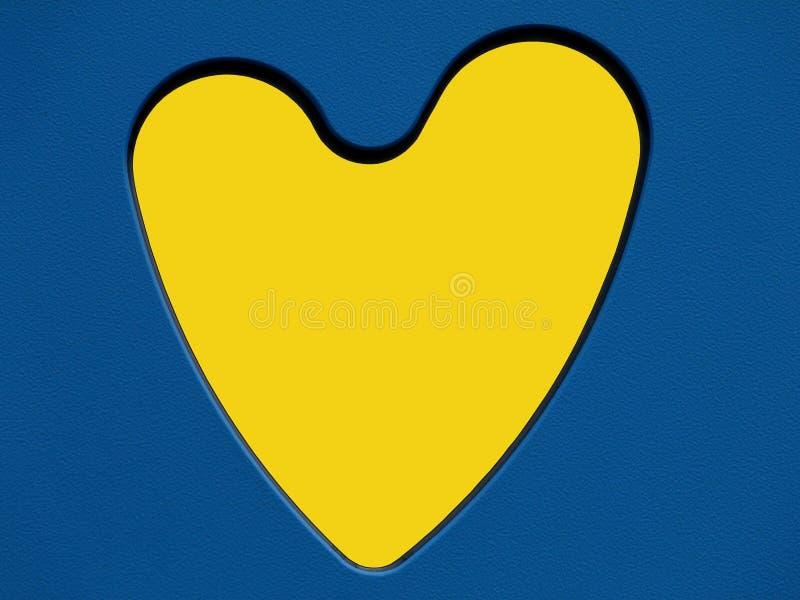 Gult hjärtasymbol i blå för snitt leksakpanel ut royaltyfri bild