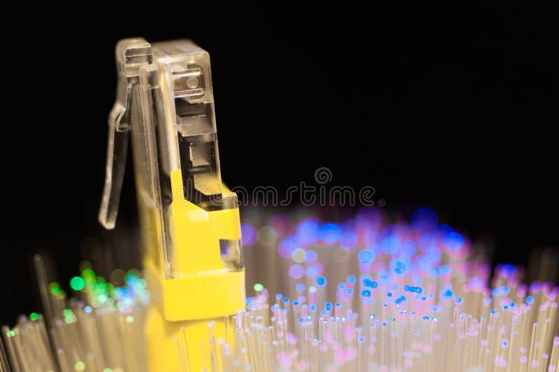 Gult internetströmbrytareslut upp makroskottet, blått, gröna optiska fibrer royaltyfri fotografi