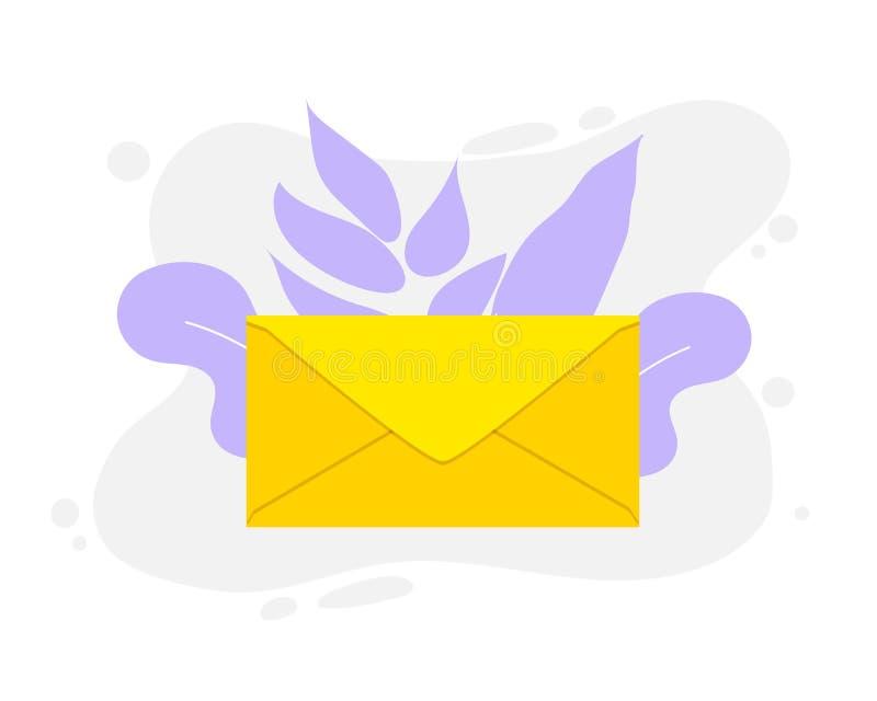 Gult kuvert för vektorsymbol Det post- kuvertet är i en plan stil Plan illustration som isoleras på vit bakgrund vektor illustrationer