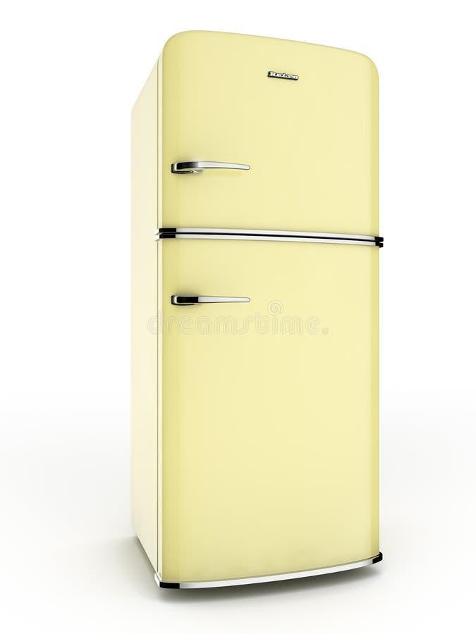 Gult kylskåp stock illustrationer