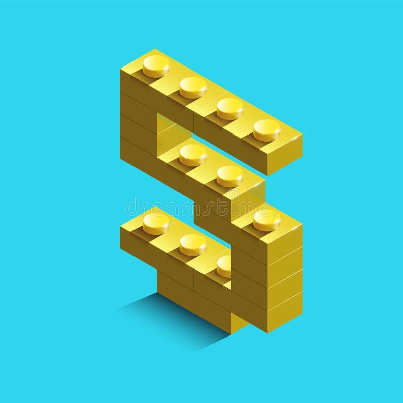 Gult nummer fem från konstruktörlegotegelstenar på blå bakgrund 3d lego nummer fem royaltyfri illustrationer