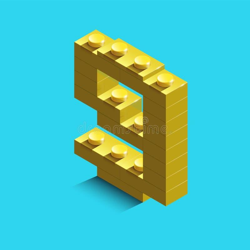 Gult nummer nio från konstruktörlegotegelstenar på blå bakgrund 3d lego nummer nio stock illustrationer