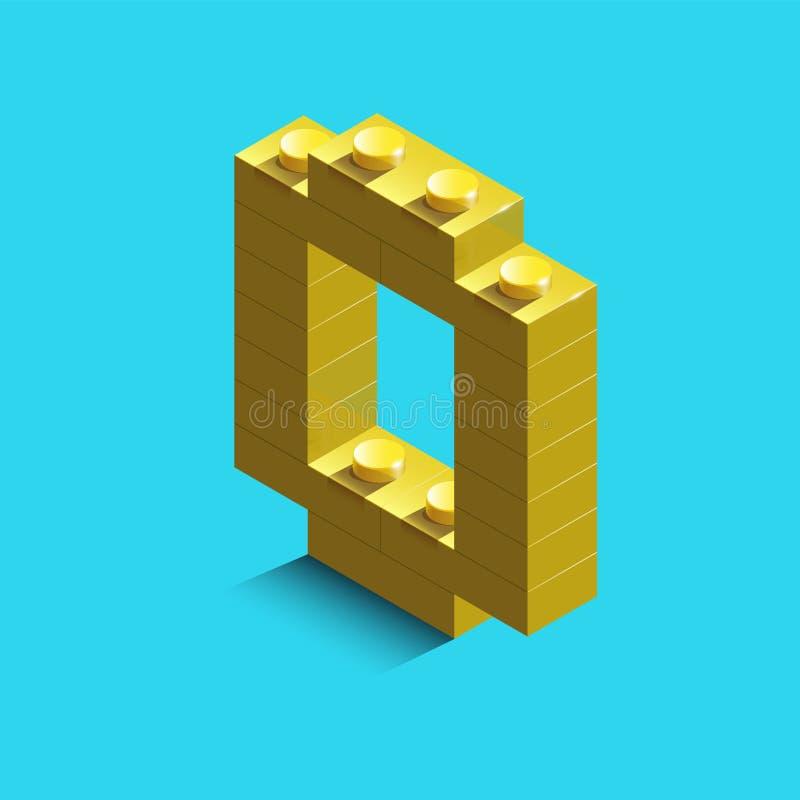 Gult nummer noll från konstruktörlegotegelstenar på blå bakgrund 3d lego nummer noll stock illustrationer