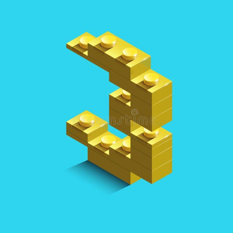 Gult nummer tre från konstruktörlegotegelstenar på blå bakgrund 3d lego nummer tre stock illustrationer
