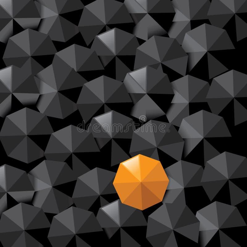 Gult paraply i havet av svart med utrymme för kopia royaltyfri illustrationer