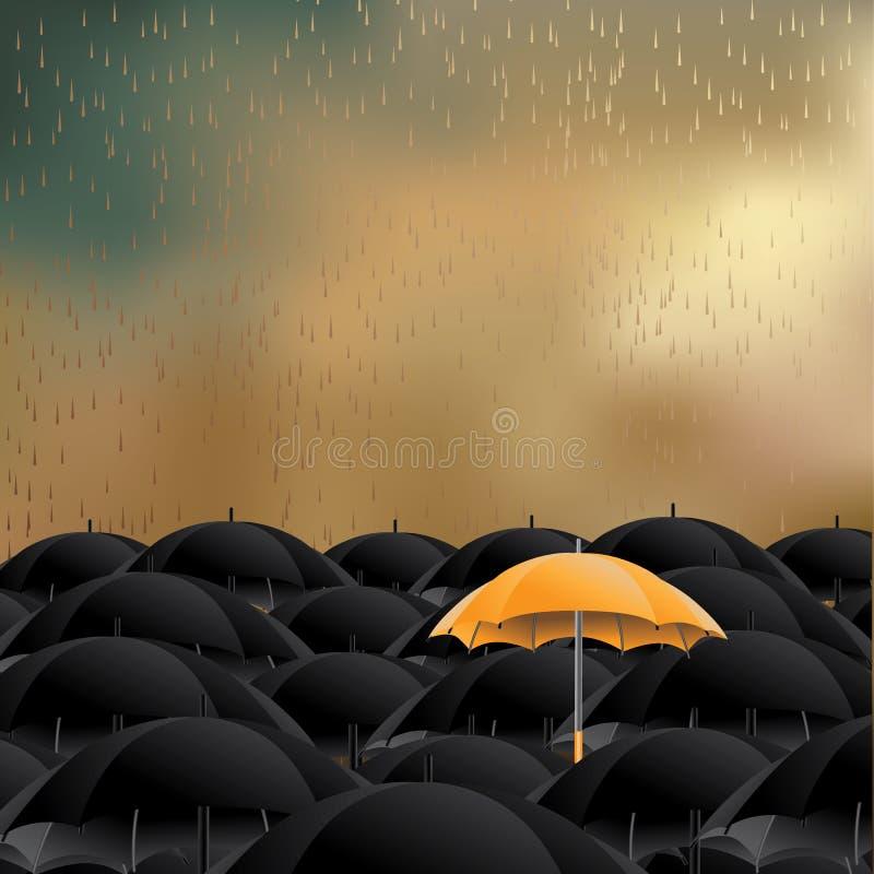 Gult paraply i havet av svart med utrymme för kopia stock illustrationer