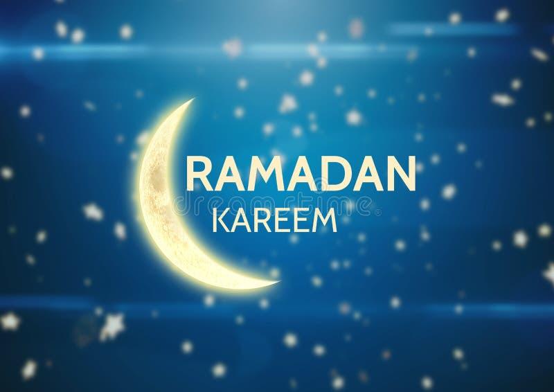 Gult ramadan diagram mot blå bakgrund med stjärnor vektor illustrationer