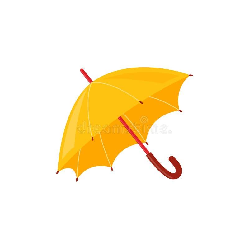 Gult regnigt paraply som isoleras på vit bakgrund - höst- eller vårtillbehör för säsongsbetonad design stock illustrationer