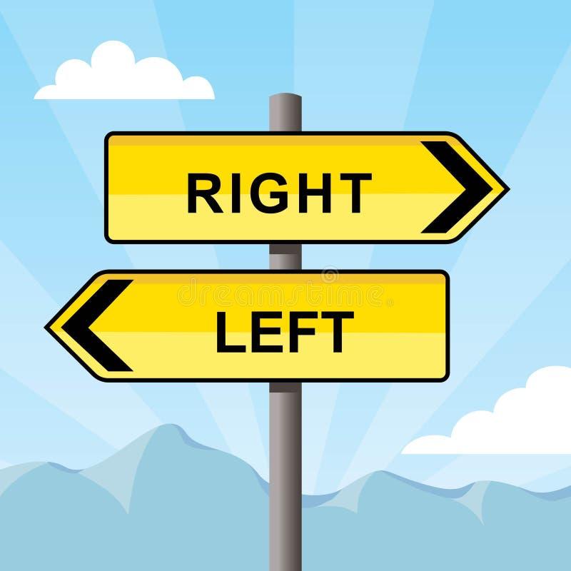 Gult riktningstecken som rätt pekar mitt emot riktningar, ord och lämnat vektor illustrationer