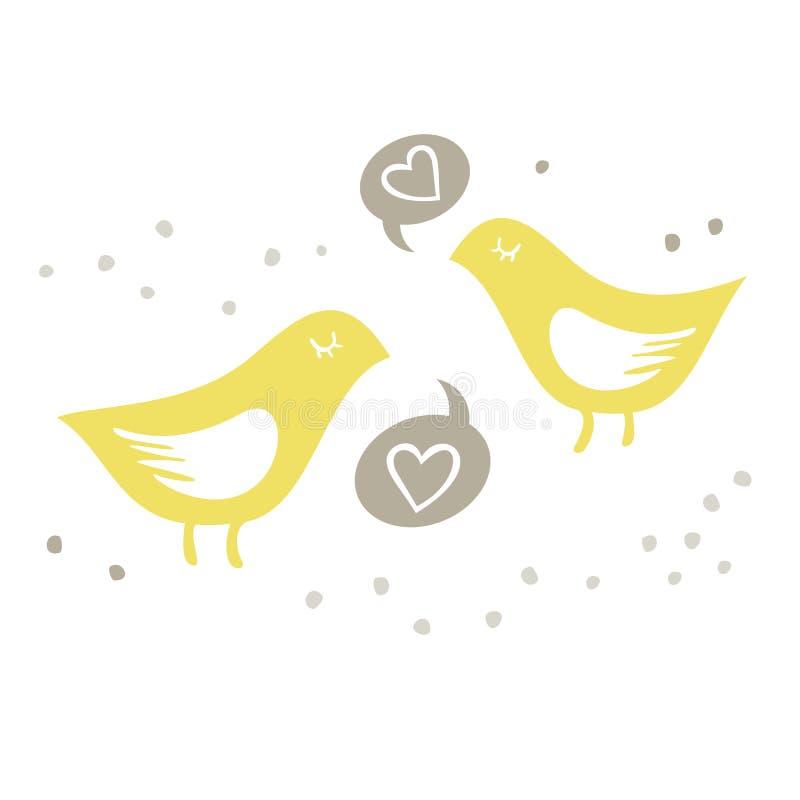 Gult sjunga för fåglar av förälskelse på vit bakgrund royaltyfri illustrationer