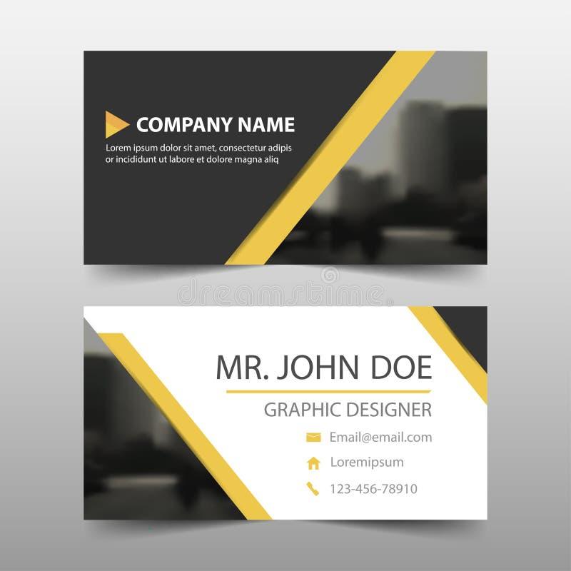 Gult svart kort för företags affär för triangel, mall för känt kort, horisontalenkel ren orienteringsdesignmall, affär royaltyfri illustrationer